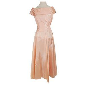 Vintage 70s Tarfetta Pink Blush Bridesmaid's Dress